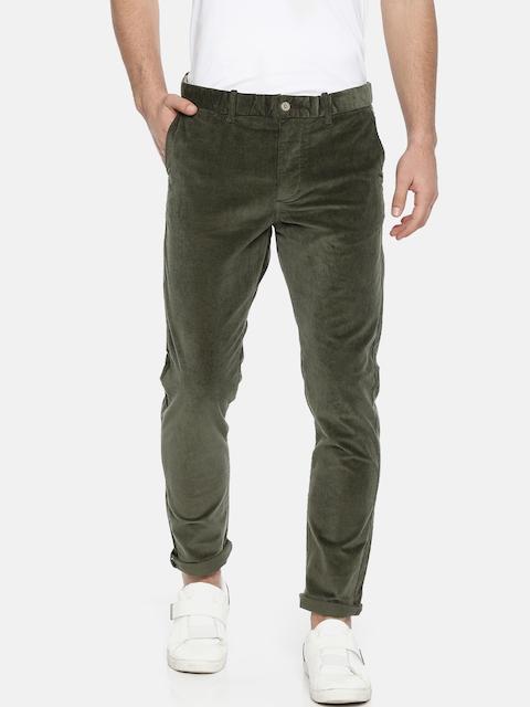 Jack & Jones Men Olive Green Slim Fit Solid Regular Trousers