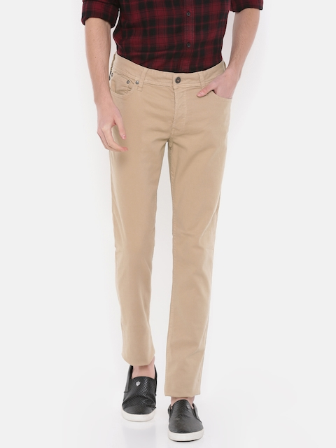 Jack & Jones Men Beige Slim Fit Mid-Rise Clean Look Stretchable Jeans