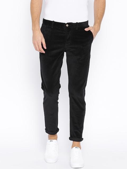 Jack & Jones Men Black Slim Fit Solid Corduroy Trousers