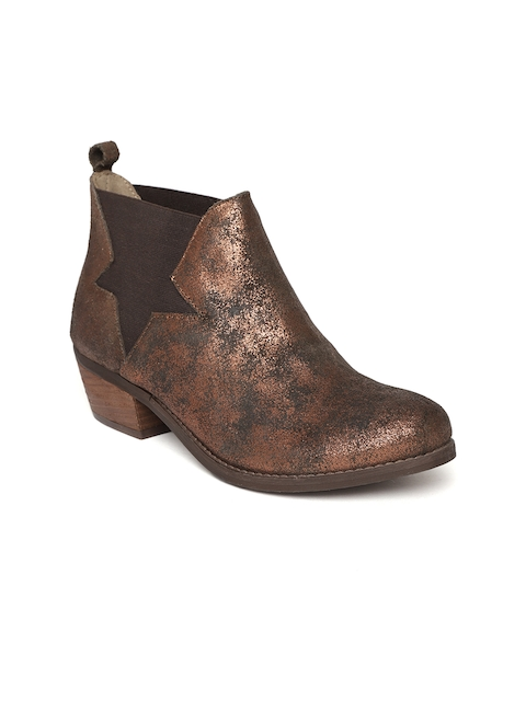 Zebba Women Bronze-Toned Mid-Top Flat Leather Boots