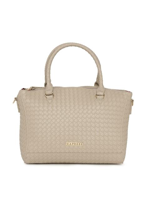 Caprese Beige Textured Handheld Bag