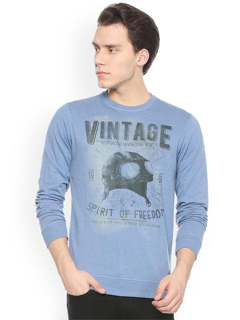 Peter England Casuals Men Blue Printed Sweatshirt