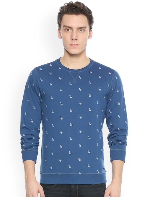 Peter England Casuals Men Blue & White Printed Sweatshirt