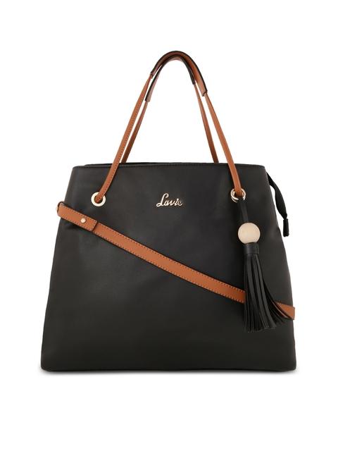 Lavie Black & Brown Solid Leather Handheld Bag