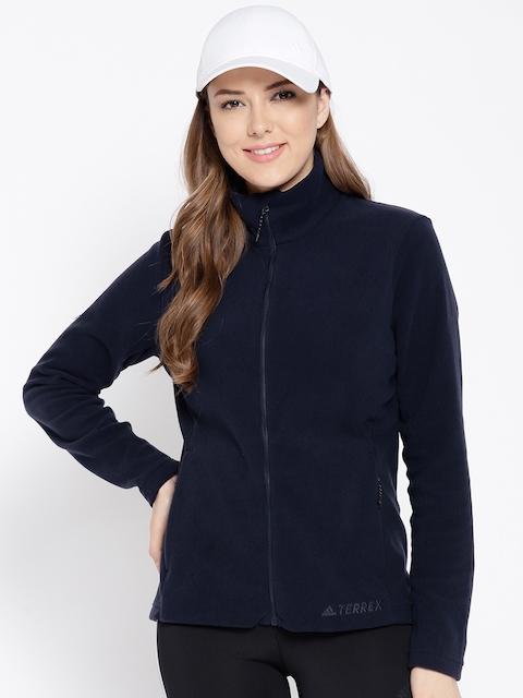 Adidas Women Navy Blue Solid TIVID FL JK Outdoor Sweatshirt