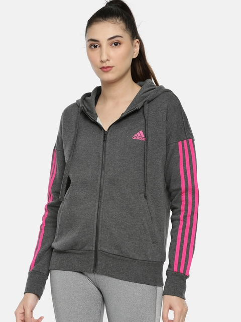 Adidas Women Charcoal Grey ESS 3S FZ HD Solid Hooded Sweatshirt