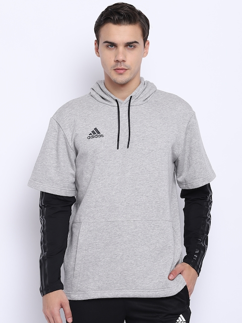 Adidas Men Grey Melange Tango Layered JSY LS Hooded Sweatshirt