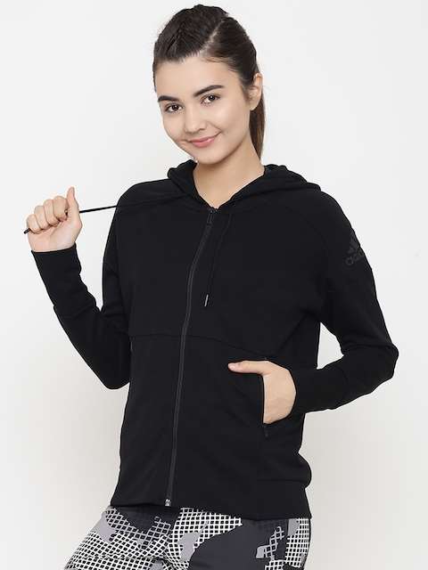 Adidas Women Black ID Stadium Solid Hooded Training Sweatshirt
