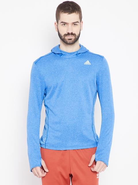 Adidas Men Blue Solid Response Astro Hooded Running Sweatshirt