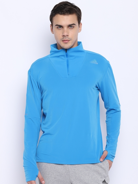 Adidas Men Blue Solid SN 1/2 Zip Running Sweatshirt
