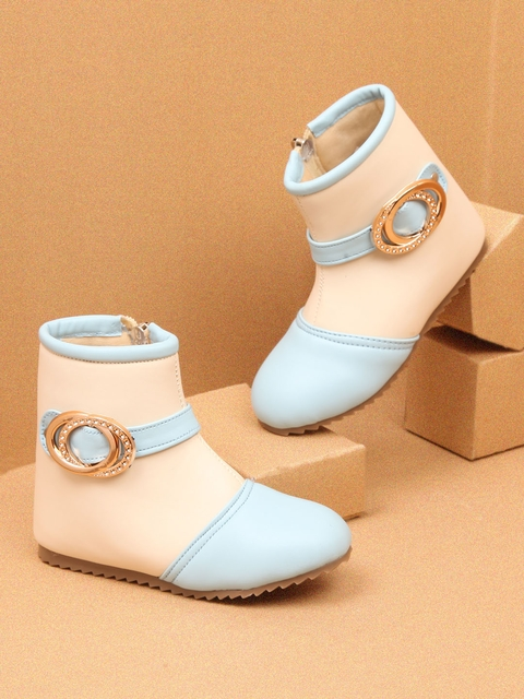 Walktrendy Girls Beige & Blue Colourblocked MId-Top Flat Boots
