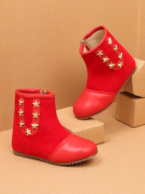 Walktrendy Girls Red Solid Mid-Top Flat Boots