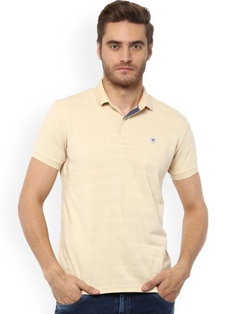 Mufti Men Cream Self Design Polo Collar T-shirt