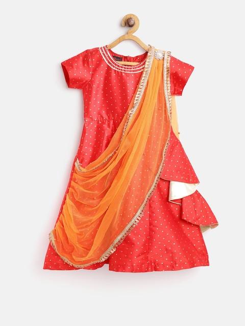 pspeaches Girls Red & Orange Self Design Maxi Dress with Dupatta