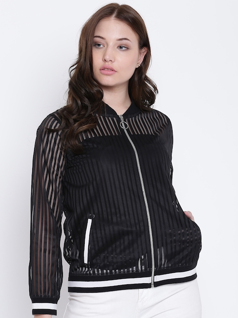 Texco Black Striped Bomber Neck Full Sleeves Women Jacket