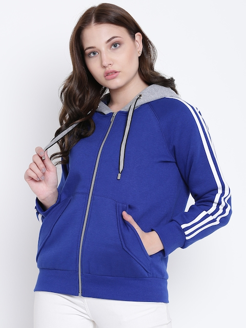 Texco Blue and Grey Hooded Self Design Women Jacket