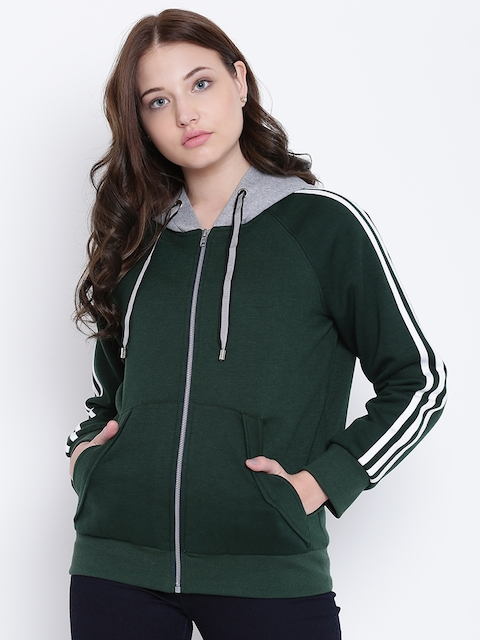Texco Green and Grey Hooded Self Design Women Jacket