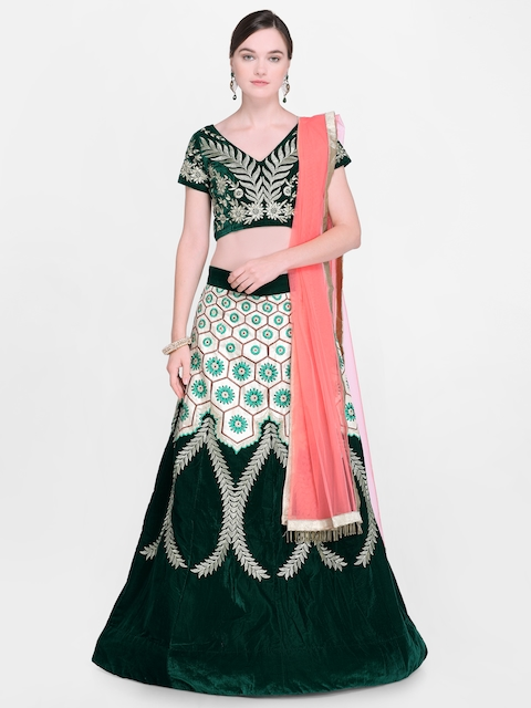 Styles Closet Green Embroidered Lehenga & Blouse with Dupatta