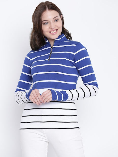 Texco Women Black and White Striped Mock Neck Full Sleeves Sweatshirt