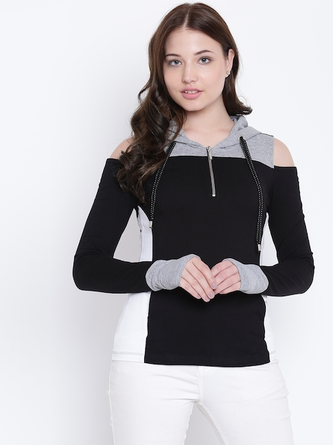 Texco Women Black and Grey Hooded Cold Shoulder Sleeves Sweatshirt