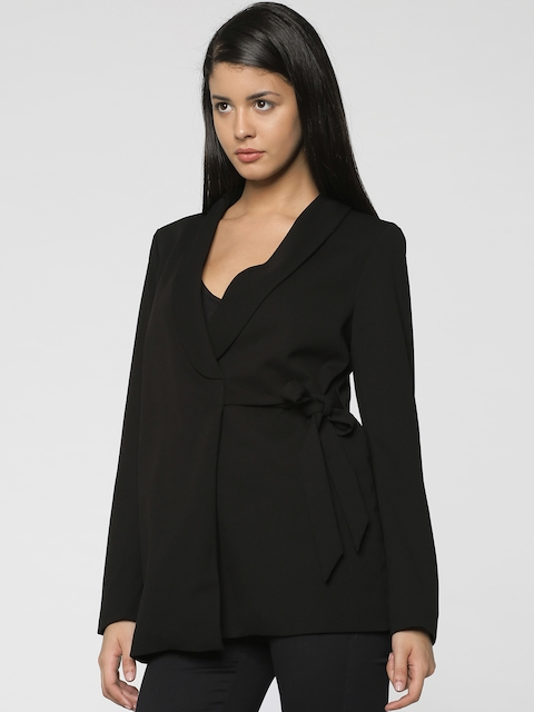 ONLY Women Black Single-Breasted Tie-Up Casual Blazer