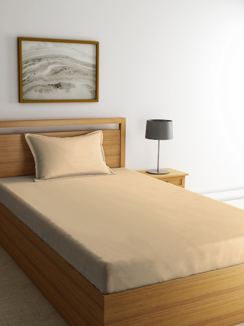 Portico New York Beige Solid Flat 144 TC Cotton 1 Single Bedsheet with 1 Pillow Cover