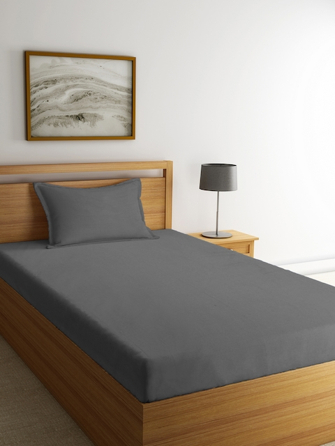 Portico New York Grey Solid Flat 144 TC Cotton 1 Single Bedsheet with 1 Pillow Cover