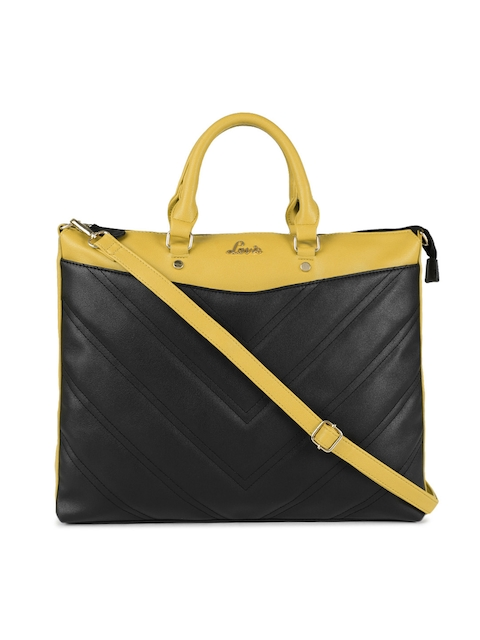 Lavie Black & Mustard Solid Handheld Bag