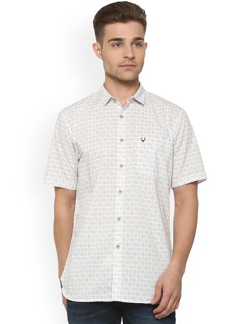 Allen Solly Men Beige & Blue Regular Fit Printed Casual Shirt