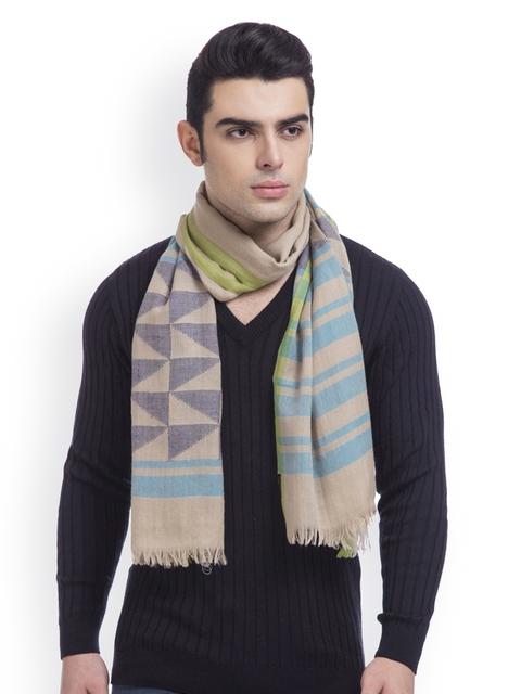 SHINGORA Men Beige Self-Design Woollen Muffler