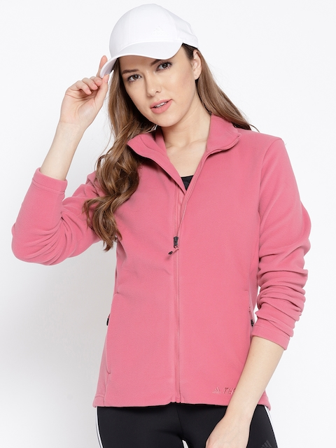 Adidas Women Pink Solid TIVID FL JK Outdoor Sweatshirt