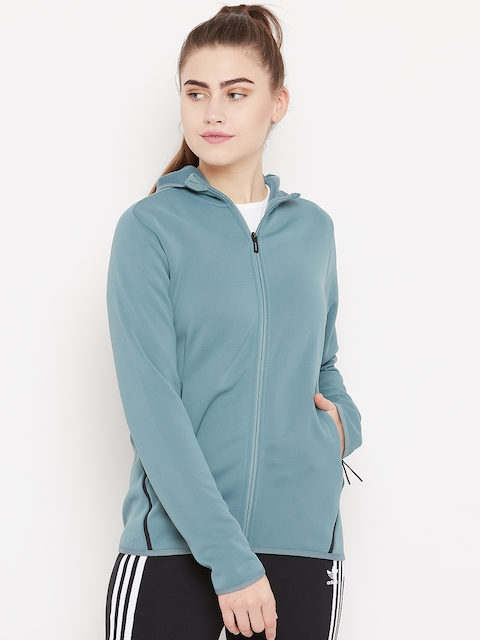 Adidas Women Olive Green FreeLift Climaheat Hooded Training Sweatshirt