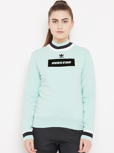 Adidas Originals Mint Green Solid Sweatshirt