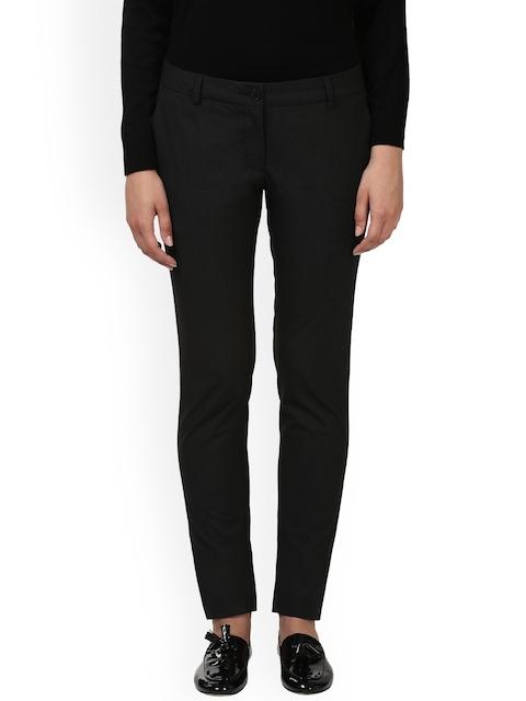 Park Avenue Women Black Slim Fit Checked Formal Trousers