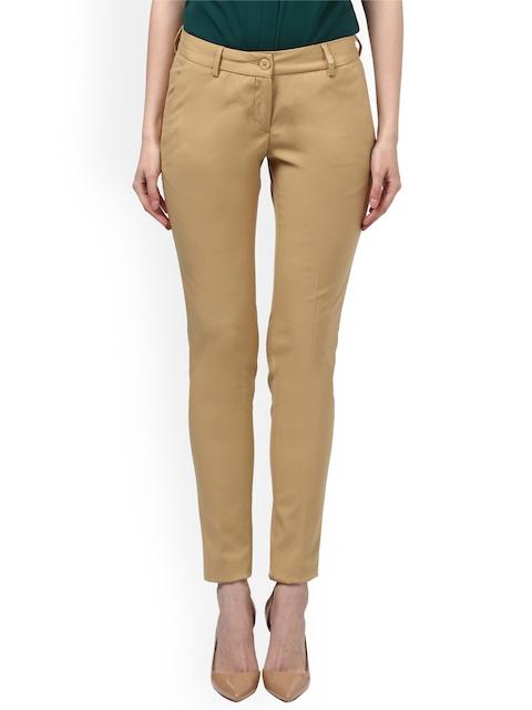Park Avenue Women Beige Slim Fit Solid Regular Trousers