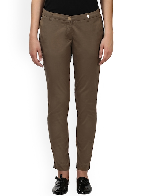 Park Avenue Women Brown Slim Fit Solid Formal Trousers