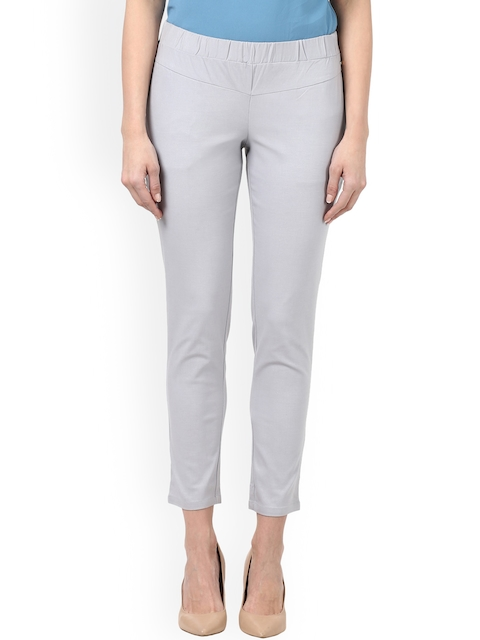 Park Avenue Women Grey Regular Fit Solid Cigarette Trousers