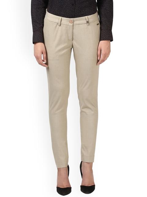 Park Avenue Women Beige Slim Fit Solid Formal Trousers