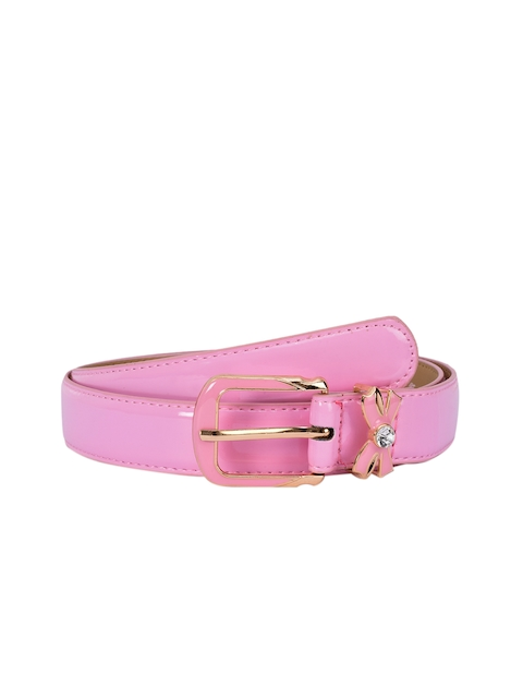 BuckleUp Women Pink Solid Synthetic Leather Belt