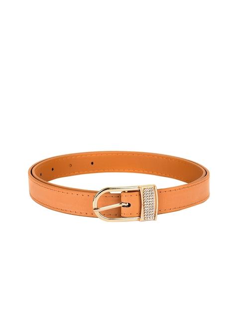 BuckleUp Women Tan Solid Synthetic Leather Belt