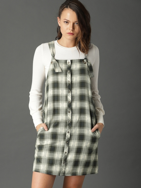 Roadster Women Olive Green & Off-White Checked Pinafore Dress