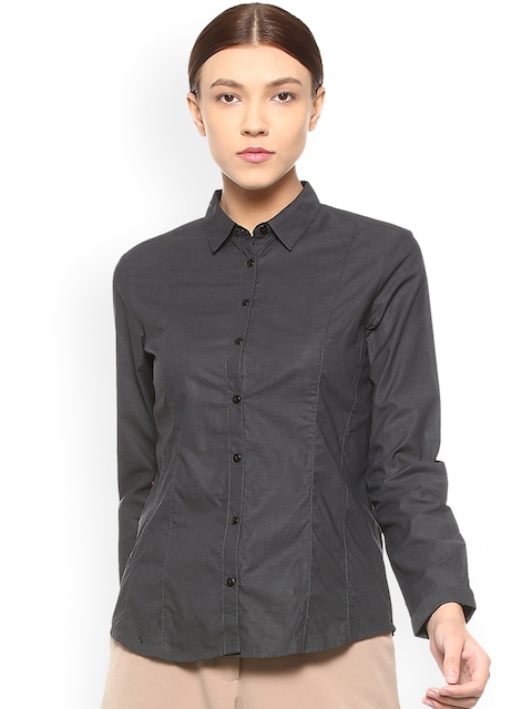 Van Heusen Woman Black Regular Fit Solid Casual Shirt