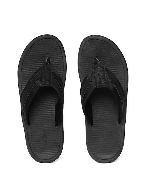 ALDO Men Black Solid Thong Flip-Flops