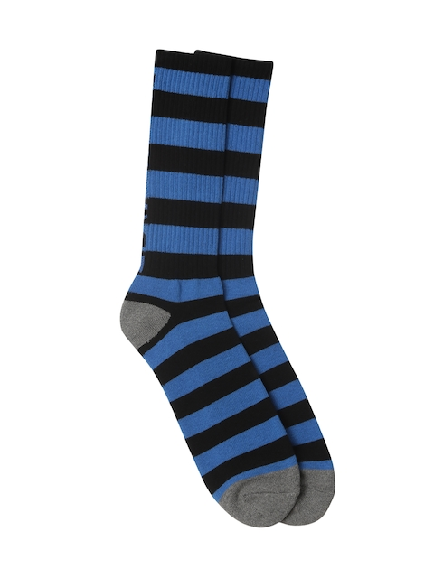 AMERICAN EAGLE OUTFITTERS Men Black & Blue Striped Above Ankle Length Socks