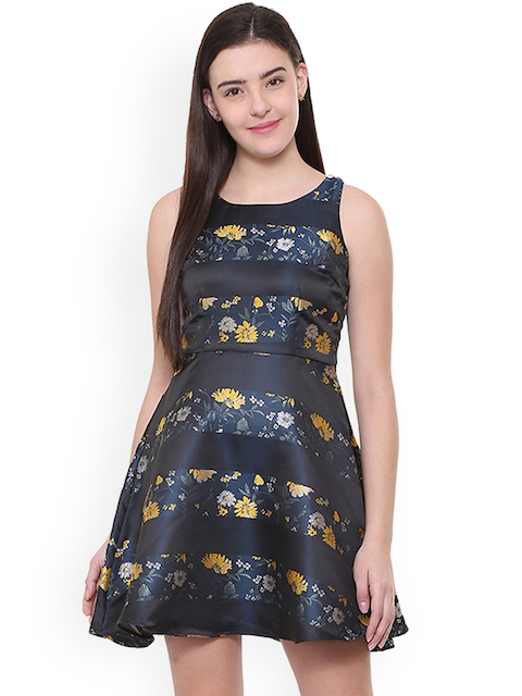 Allen Solly Woman Women Navy Blue Printed Fit and Flare Dress