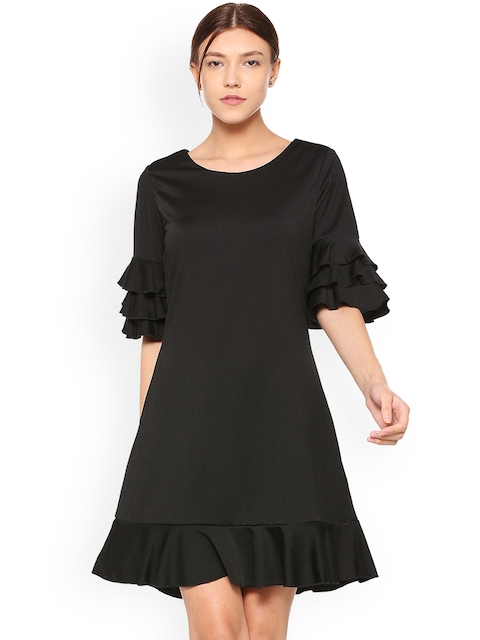 Allen Solly Woman Black Solid Drop-Waist Dress