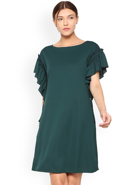 Allen Solly Woman Green Solid A-Line Dress