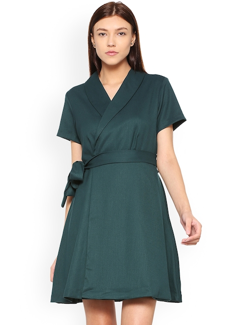 Allen Solly Woman Green Solid Wrap Dress