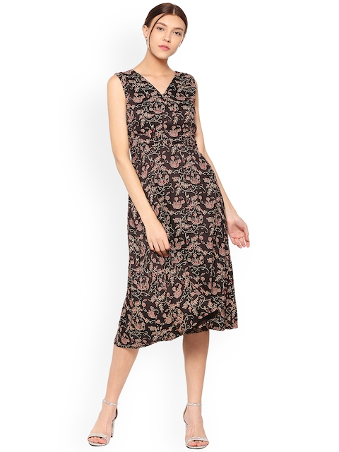 Allen Solly Woman Brown Printed Wrap Dress