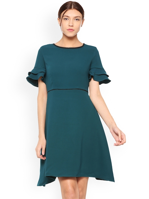Allen Solly Woman Green Solid Fit and Flare Dress